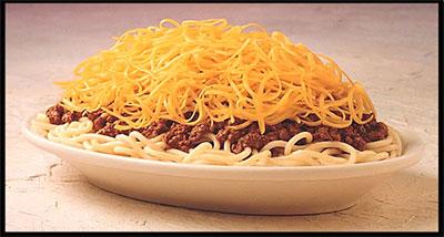 "Cincinnati Style Chili, or to Texans ""Some kinda Yankee spaghetti dish."""