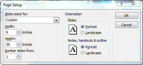 Slide layout settings menu